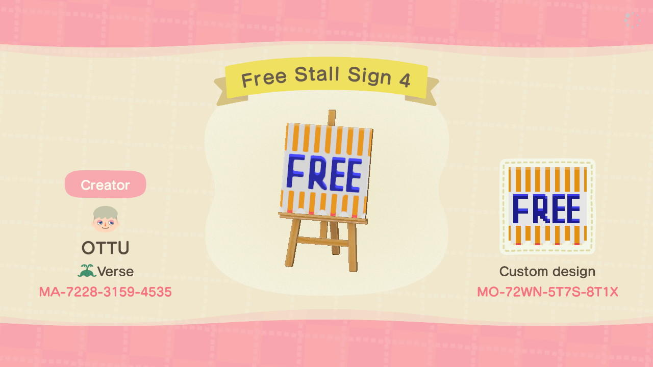 Free Stall Sign 4 - Animal Crossing: New Horizons Custom Design