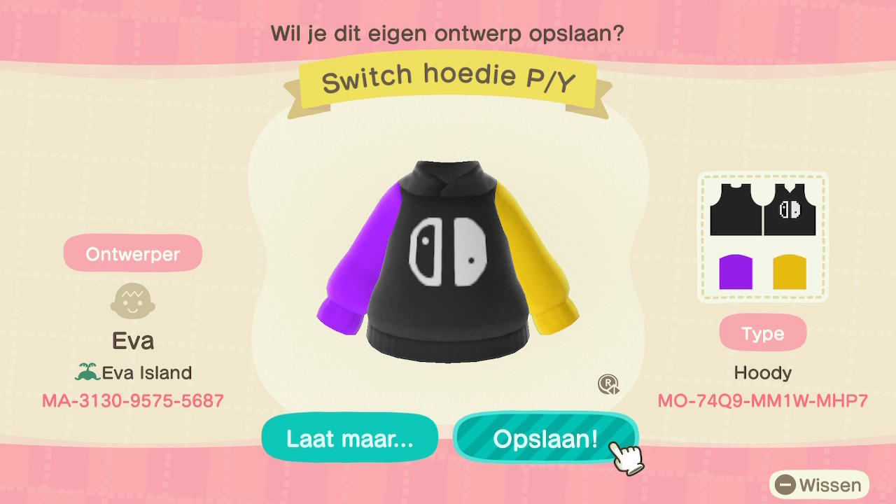 Switch hoedie P/Y - Animal Crossing: New Horizons Custom Design