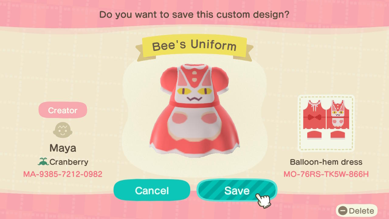 Bee's Uniform - Animal Crossing: New Horizons Custom Design