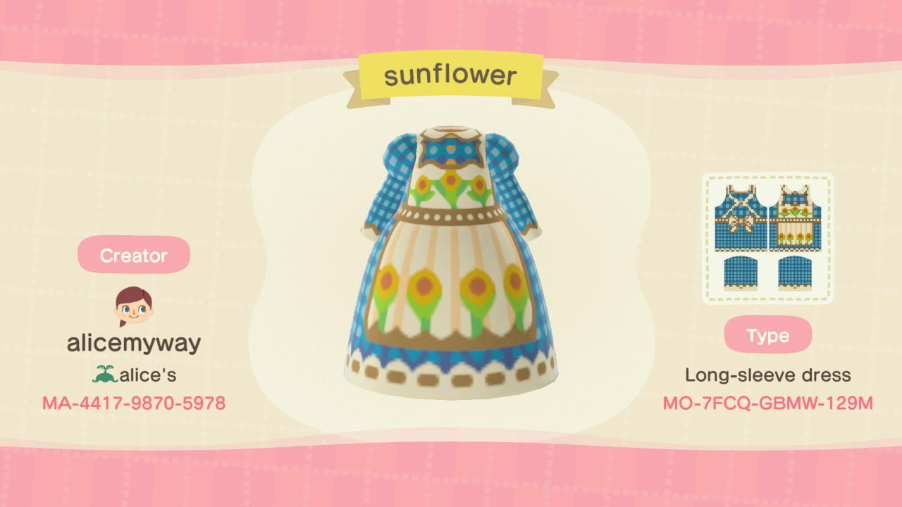 Sunflower apron - Animal Crossing: New Horizons Custom Design