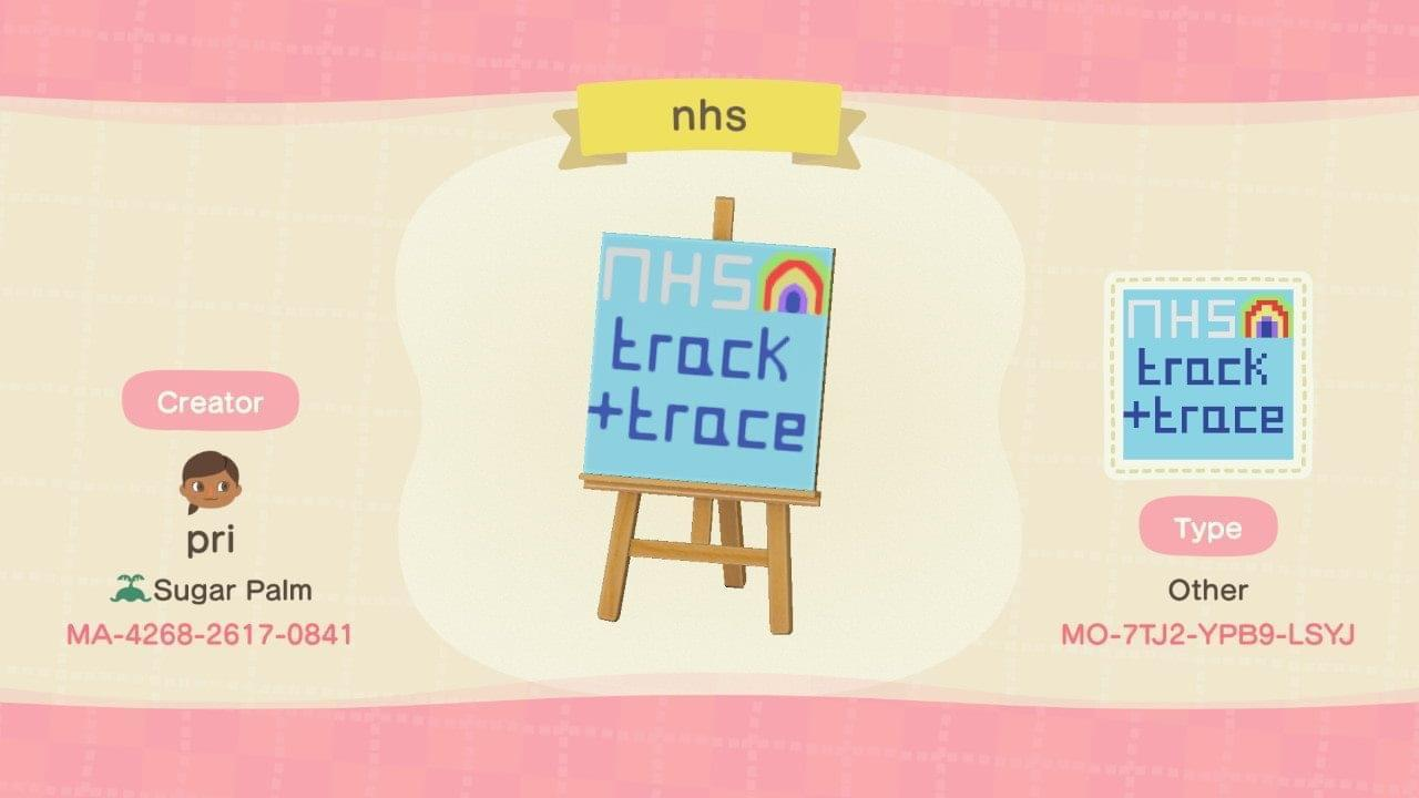 NHS Track and Trace - Animal Crossing: New Horizons Custom Design