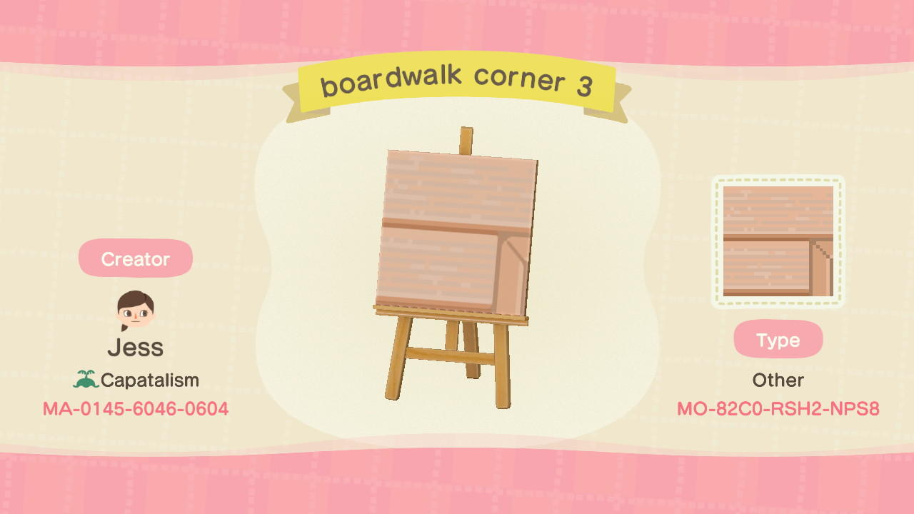 boardwalk corner 3 - Animal Crossing: New Horizons Custom Design