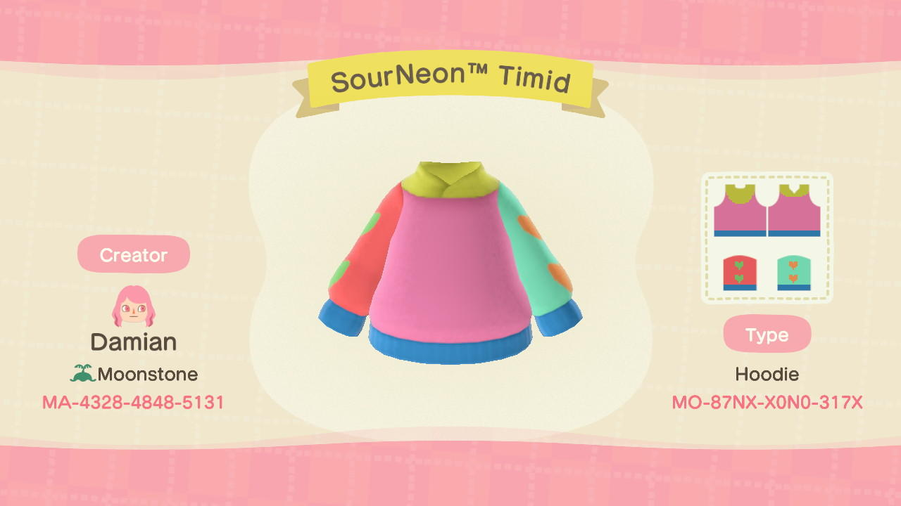 SourNeonTM Timid - Animal Crossing: New Horizons Custom Design