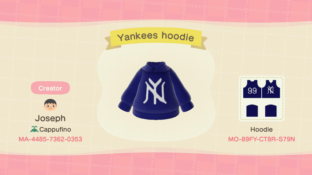 Yankees Hoodie - Animal Crossing: New Horizons Custom Design
