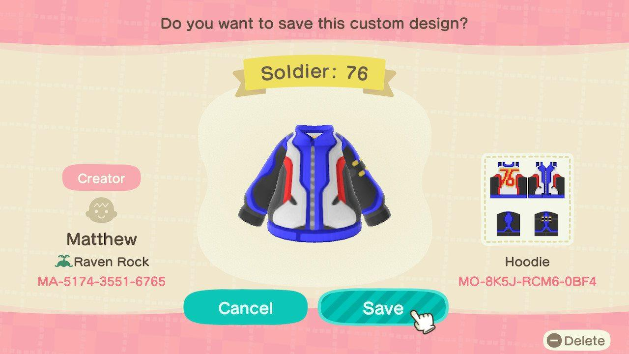 Soldier: 76 - Animal Crossing: New Horizons Custom Design