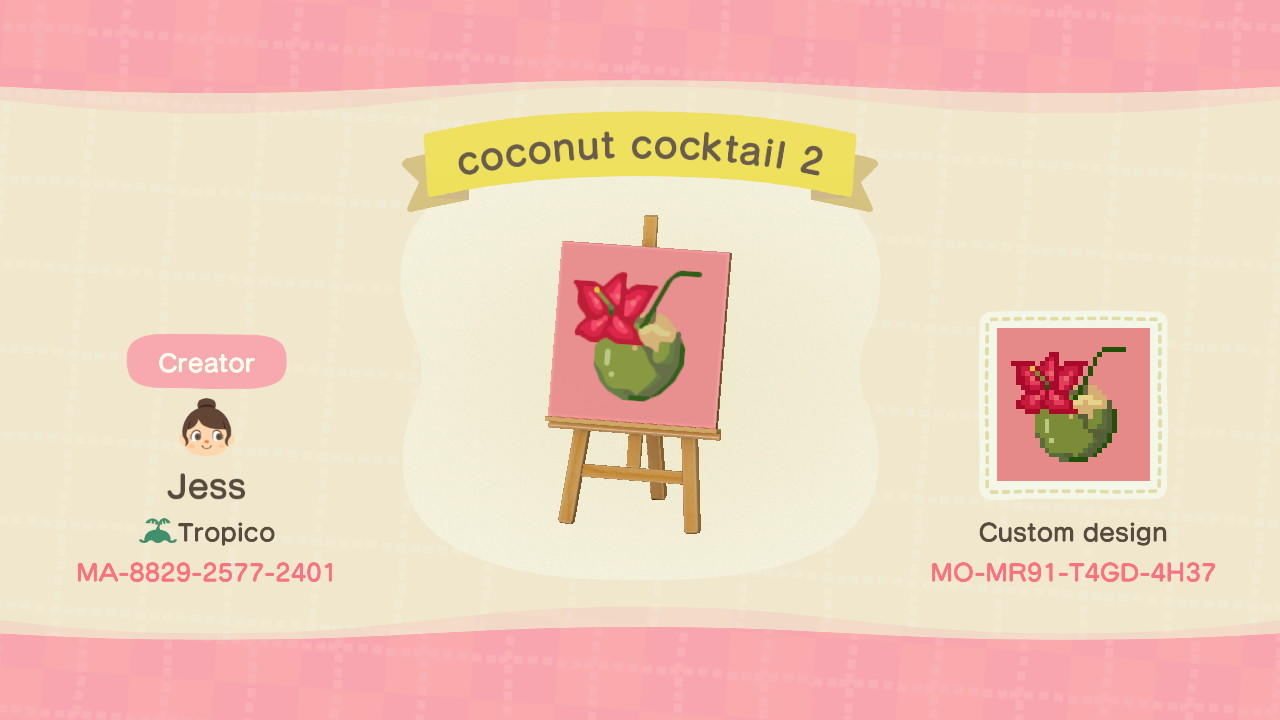 Coconut Cocktail  - Animal Crossing: New Horizons Custom Design