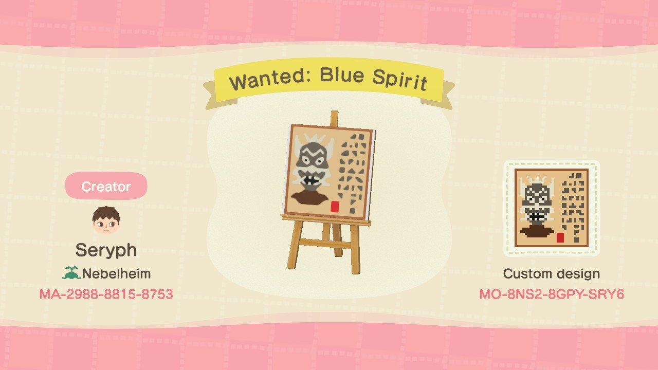 Wanted: Blue Spirit - Animal Crossing: New Horizons Custom Design