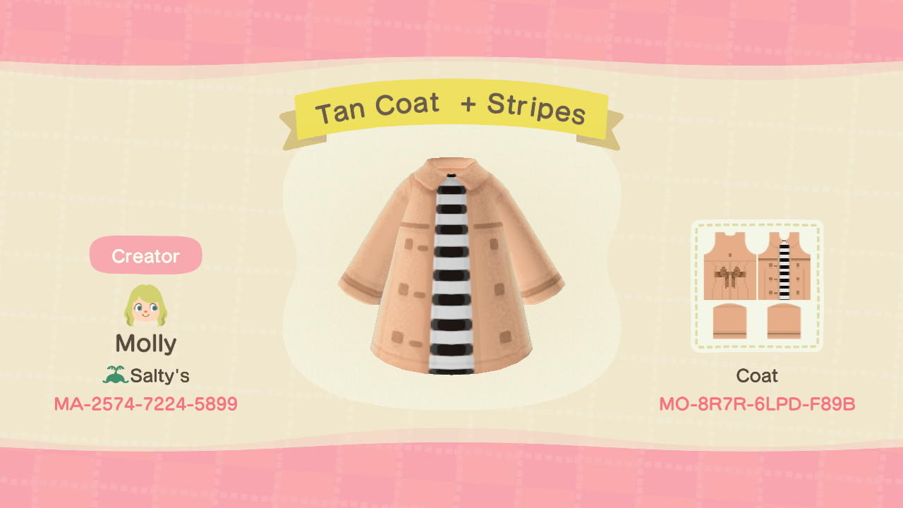 Tan Coat + Stripes - Animal Crossing: New Horizons Custom Design