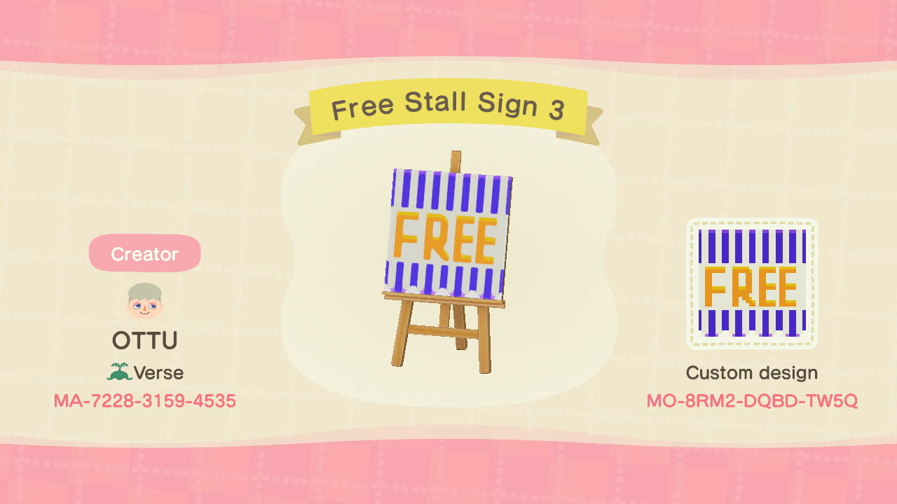 Free Stall Sign 3 - Animal Crossing: New Horizons Custom Design