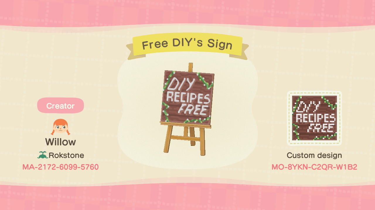 Free DIY's Sign - Animal Crossing: New Horizons Custom Design