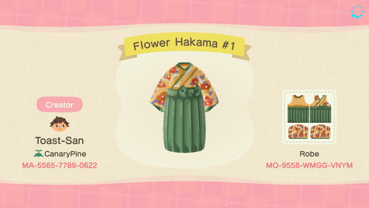 Hakama G/B Flowers R - Animal Crossing: New Horizons Custom Design