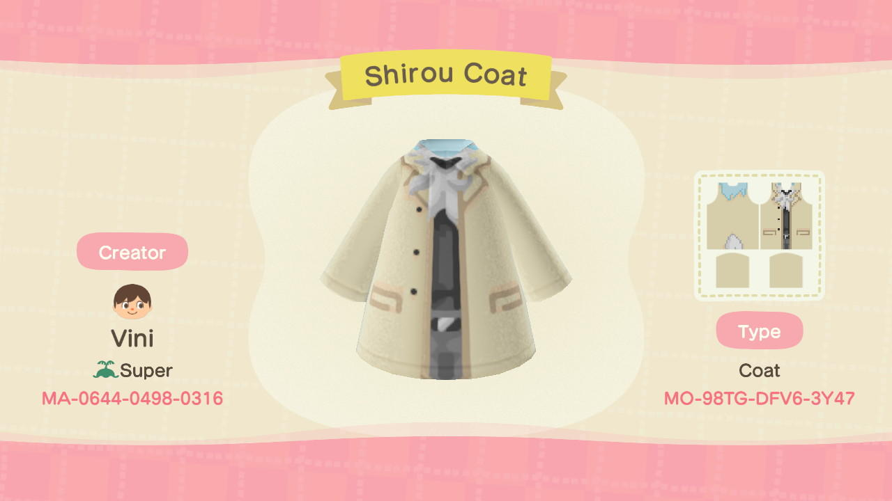 Shirou Coat - Animal Crossing: New Horizons Custom Design