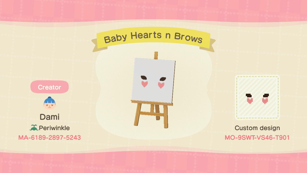 Baby Hearts n Brows - Animal Crossing: New Horizons Custom Design