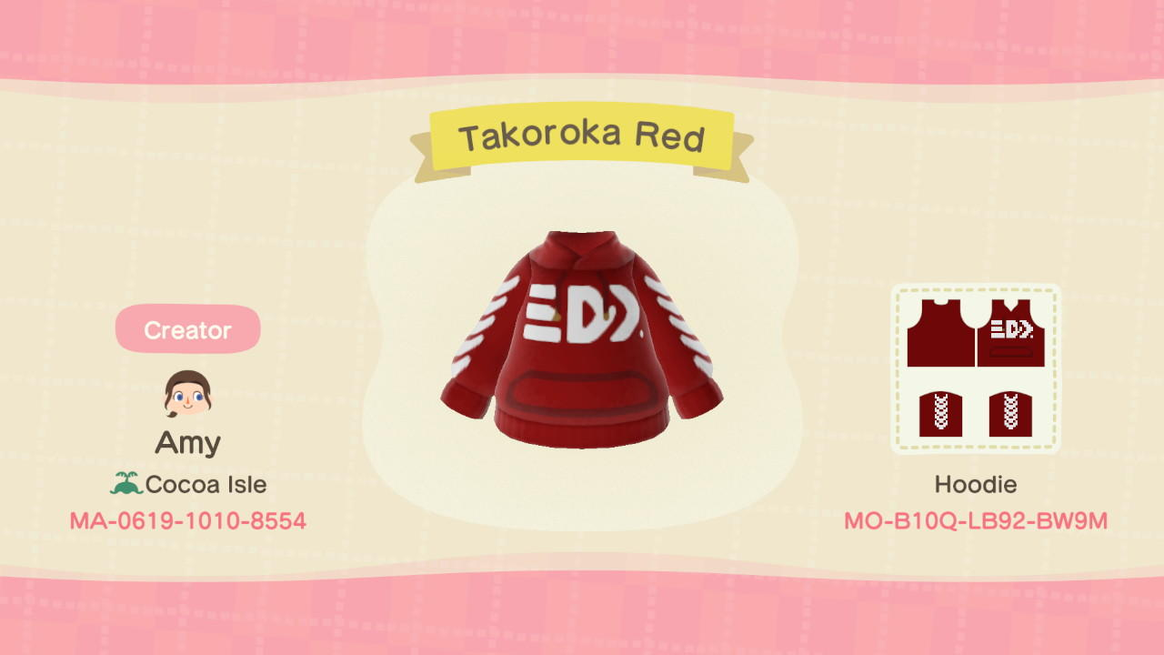 Takoroka Red Hoodie - Animal Crossing: New Horizons Custom Design