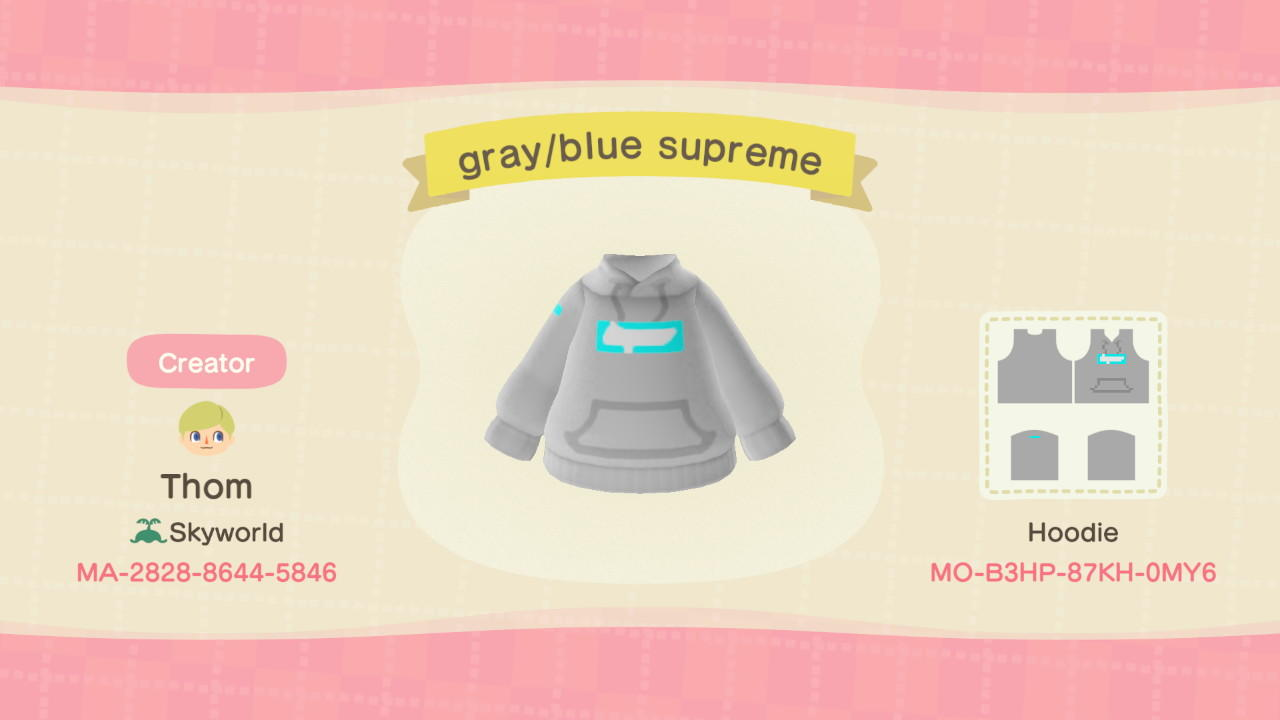 Gray/blue supreme - Animal Crossing: New Horizons Custom Design
