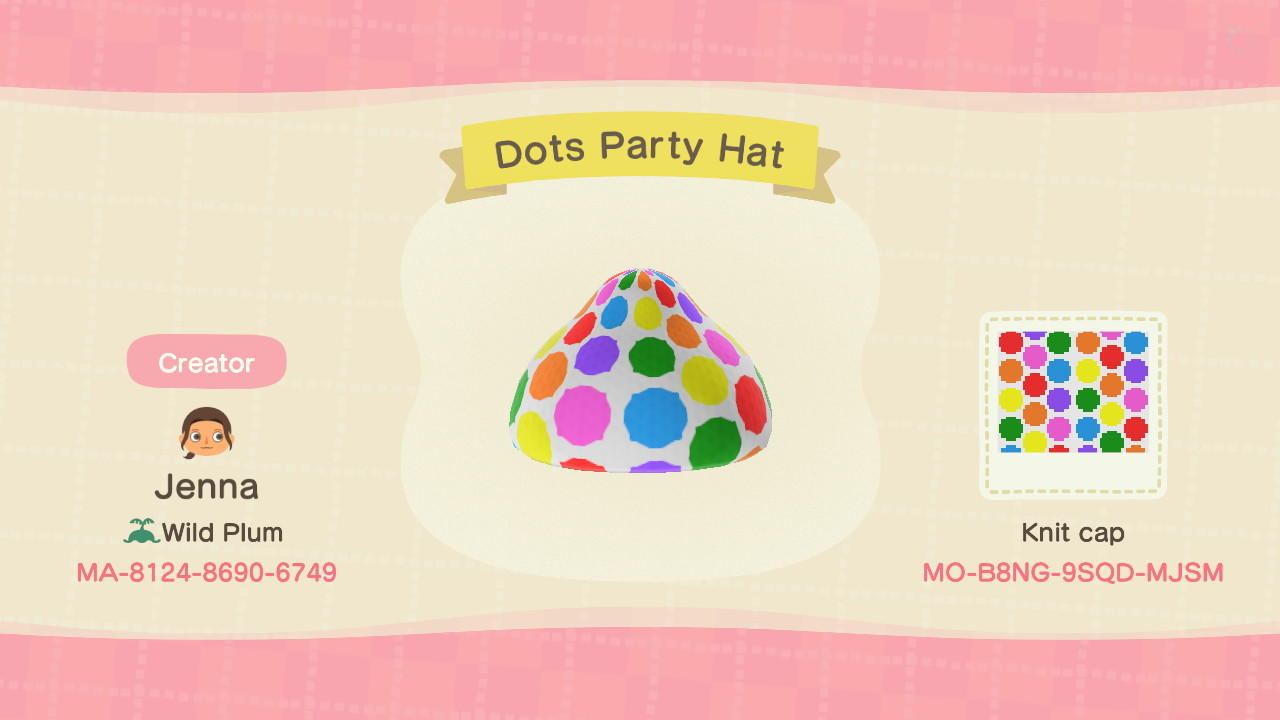 Dots Party Hat - Animal Crossing: New Horizons Custom Design