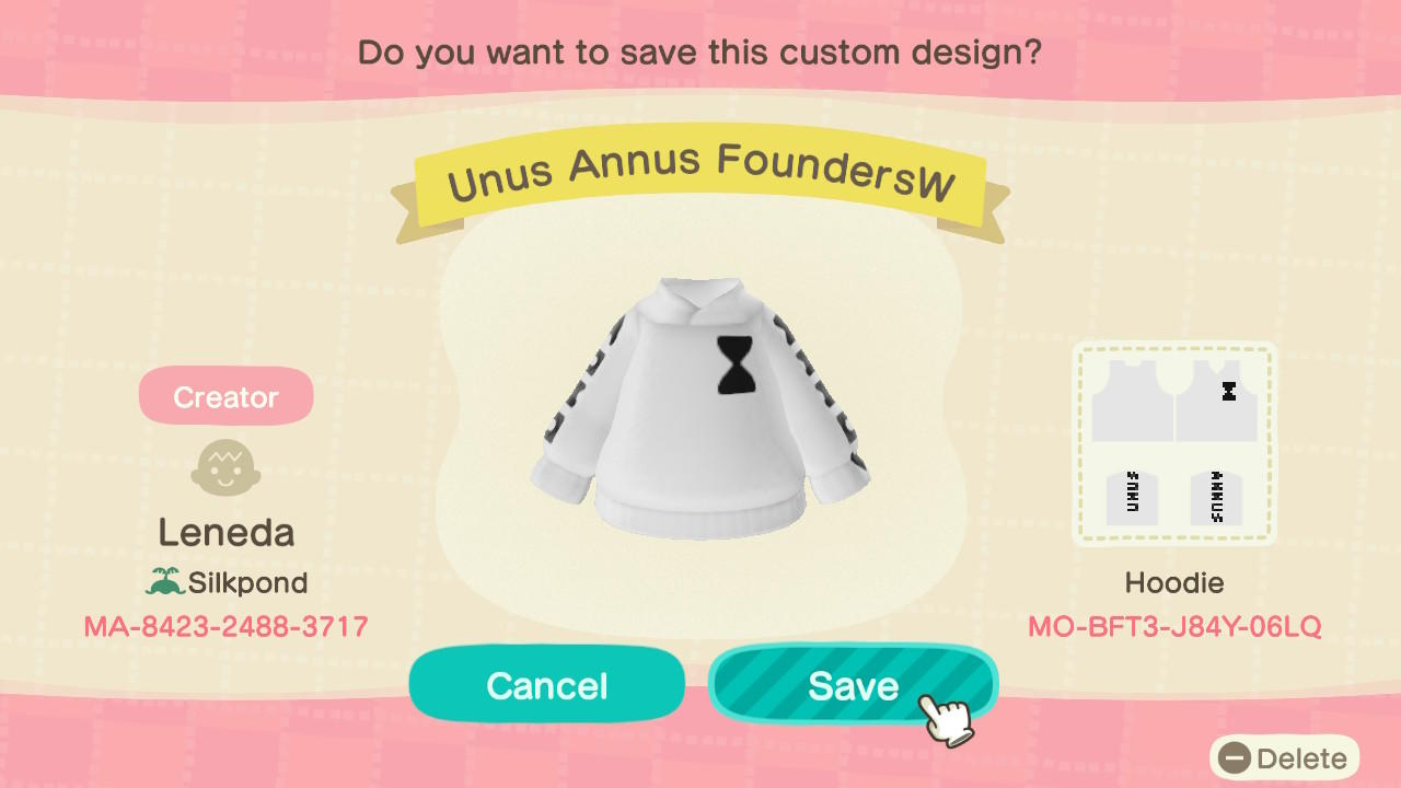 Unus Annus FoundersW - Animal Crossing: New Horizons Custom Design