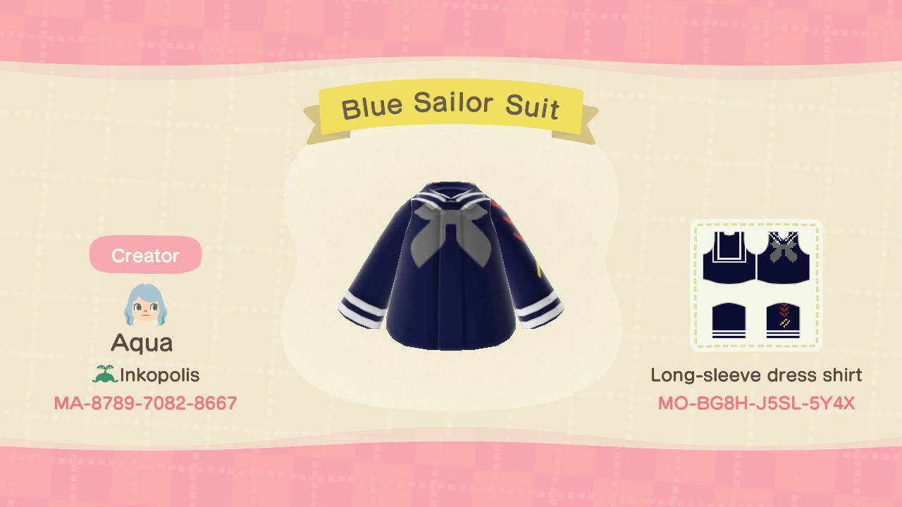 Blue Sailor Suit - Animal Crossing: New Horizons Custom Design