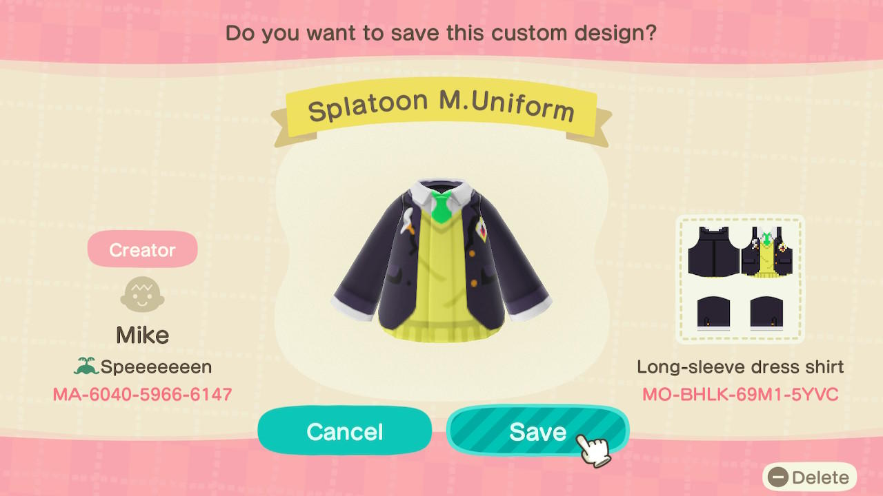Splatoon M.Uniform - Animal Crossing: New Horizons Custom Design