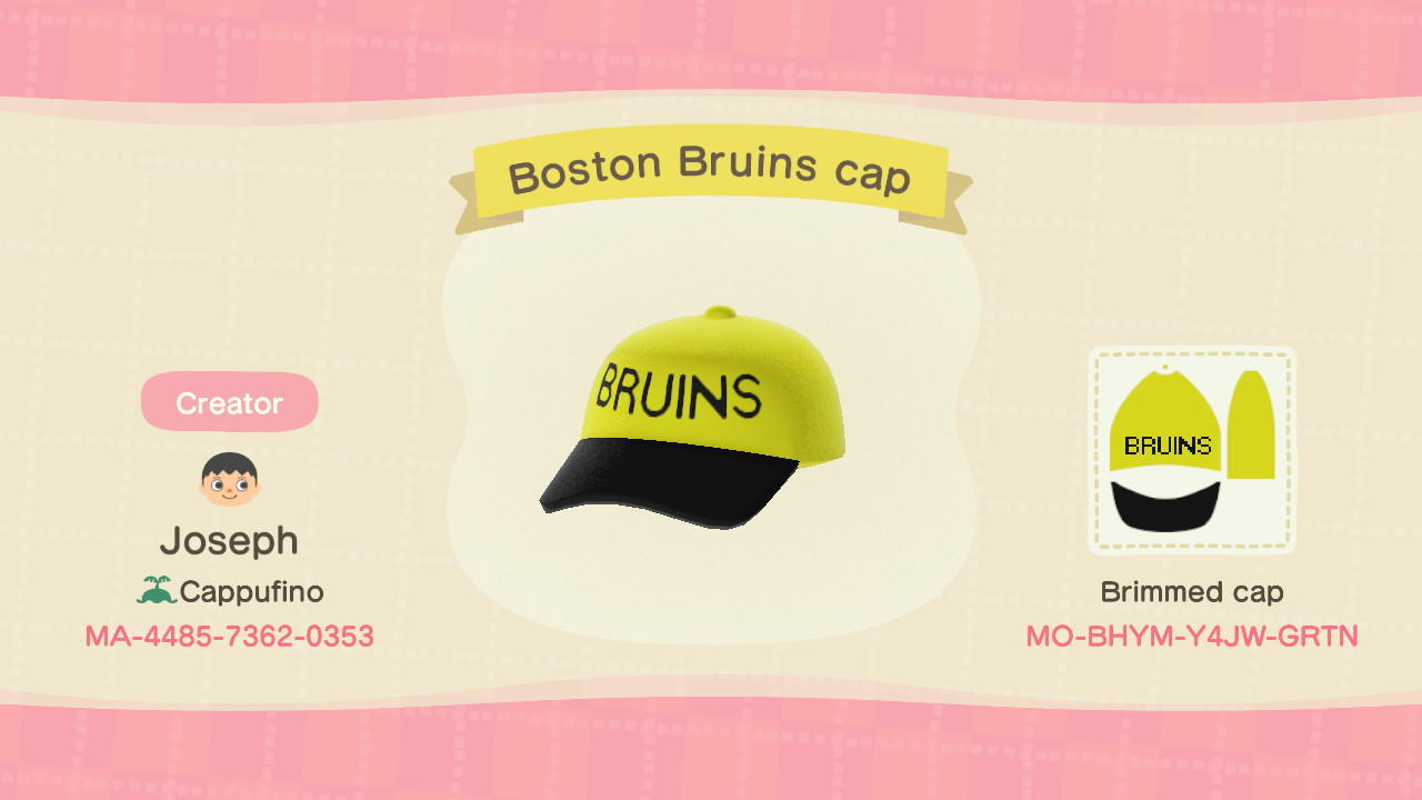 Boston Bruins Cap - Animal Crossing: New Horizons Custom Design