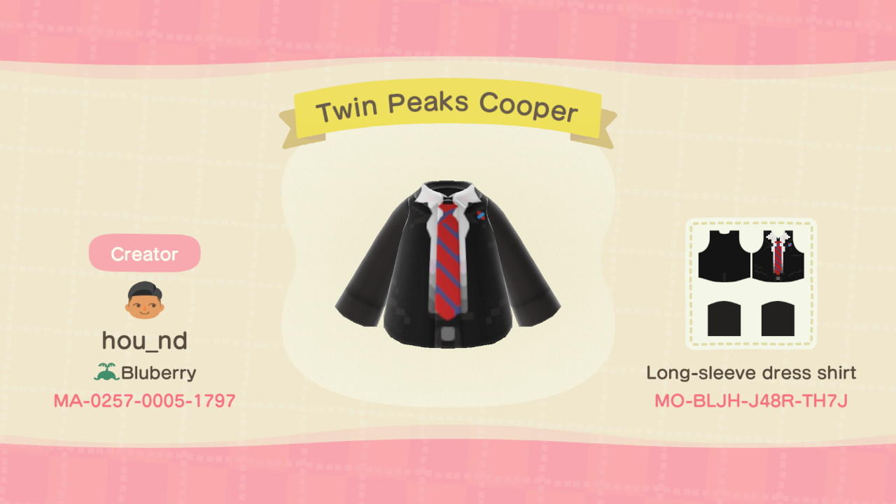 Twin Peaks Cooper - Animal Crossing: New Horizons Custom Design
