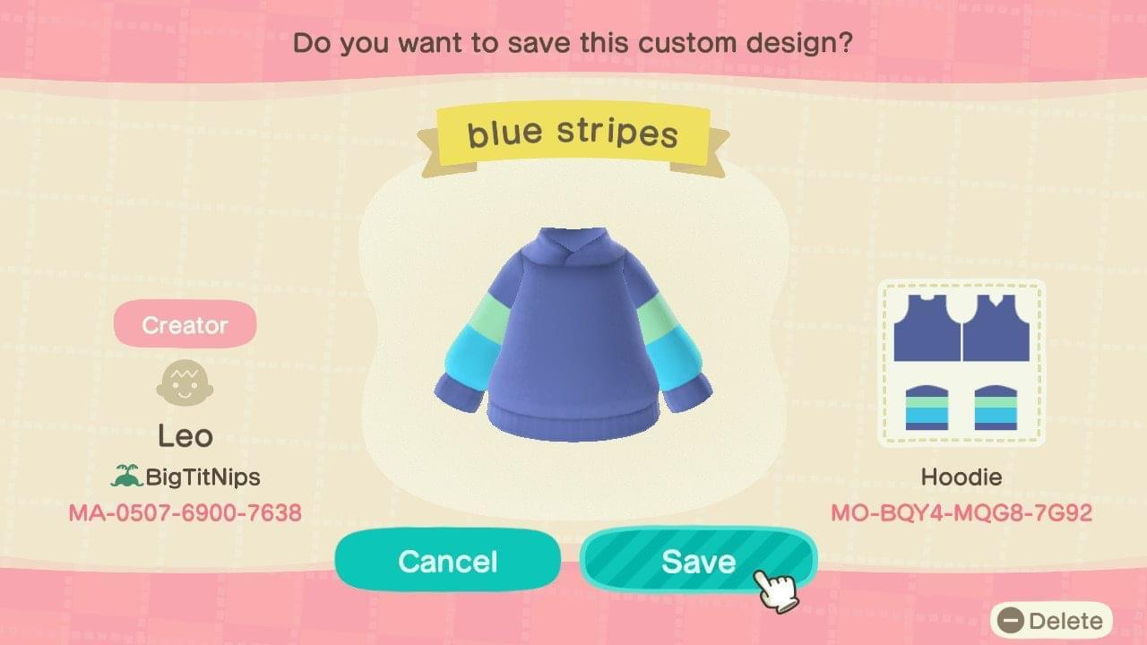 Blue Stripes - Animal Crossing: New Horizons Custom Design