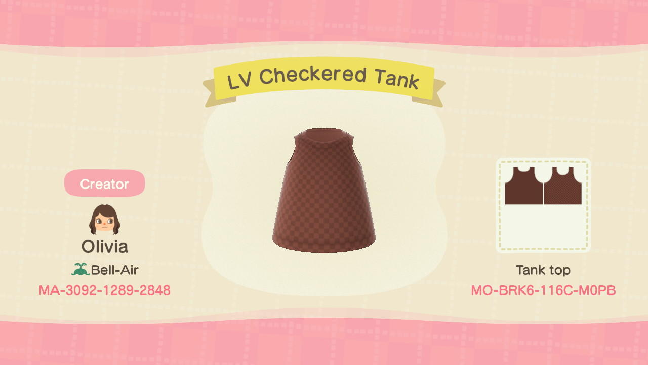 LV Checkered Tank - Animal Crossing: New Horizons Custom Design