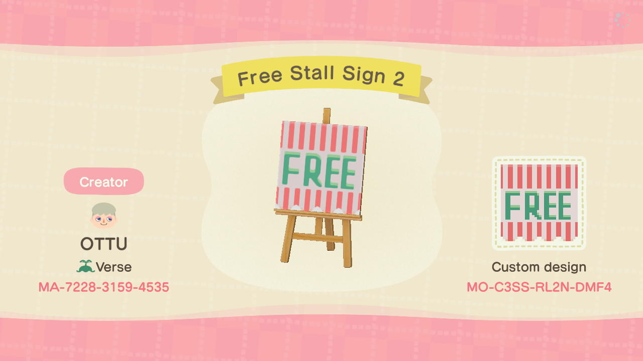 Free Stall Sign 2 - Animal Crossing: New Horizons Custom Design