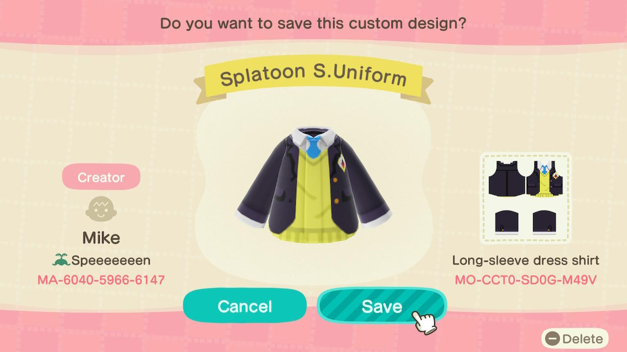 Splatoon S.Uniform - Animal Crossing: New Horizons Custom Design