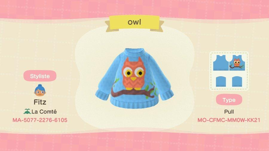 Owl sweater - Animal Crossing: New Horizons Custom Design