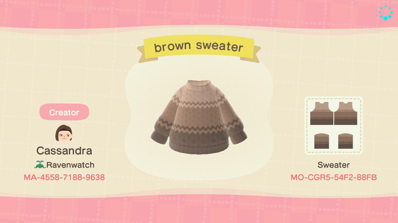 brown sweater - Animal Crossing: New Horizons Custom Design