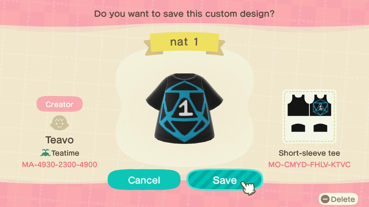 nat 1 - Animal Crossing: New Horizons Custom Design