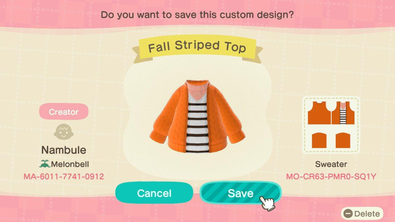 Fall Striped Top - Animal Crossing: New Horizons Custom Design