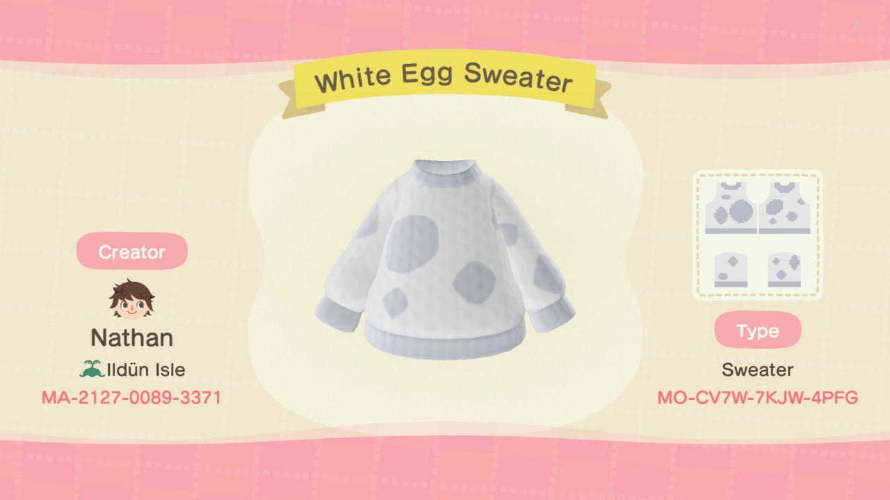 White Egg Sweater - Animal Crossing: New Horizons Custom Design