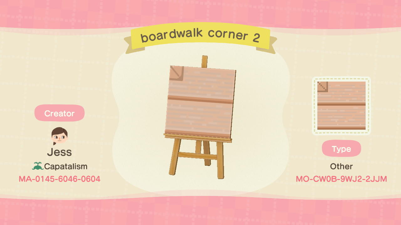 boardwalk corner 2 - Animal Crossing: New Horizons Custom Design