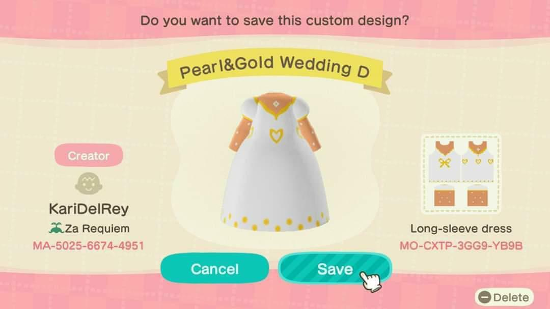 Pearl&Gold Wedding D - Animal Crossing: New Horizons Custom Design