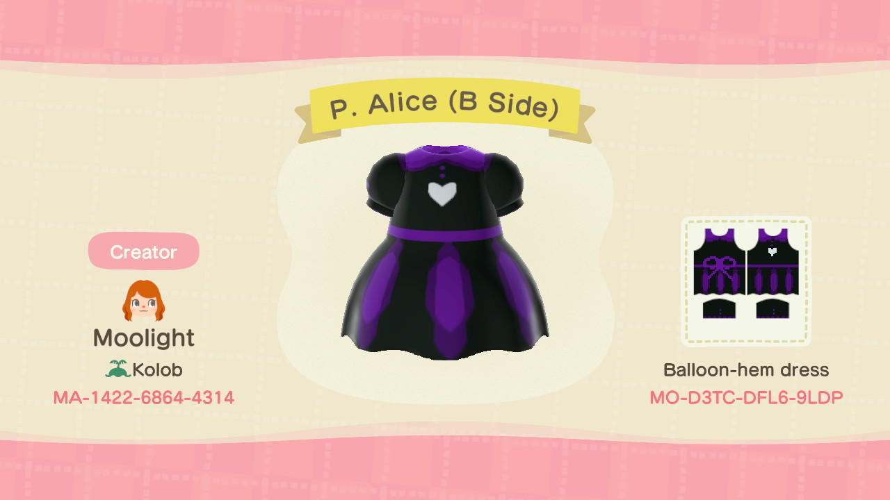 Purple Alice B Side - Animal Crossing: New Horizons Custom Design