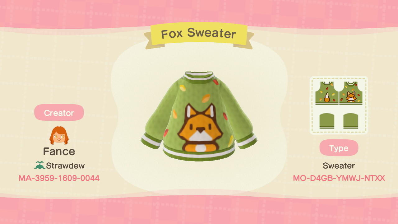 Fox Sweater - Animal Crossing: New Horizons Custom Design