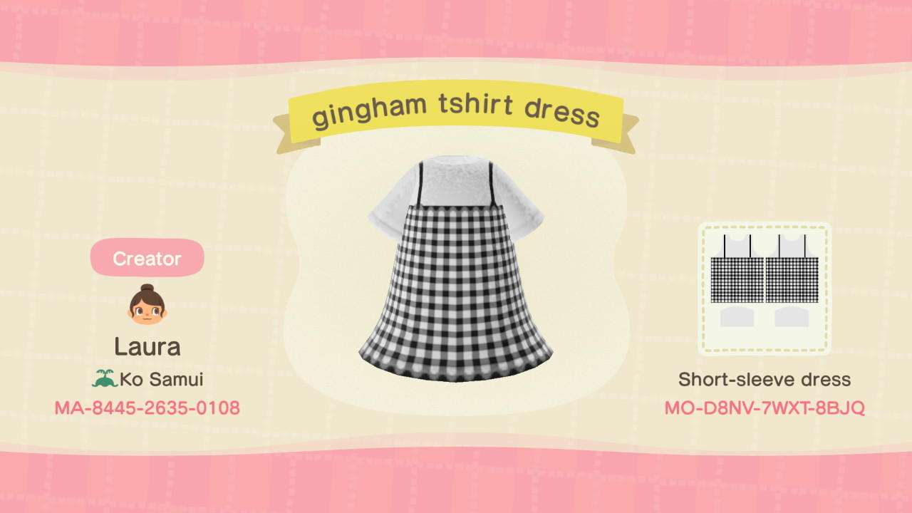 gingham tshirt dress - Animal Crossing: New Horizons Custom Design