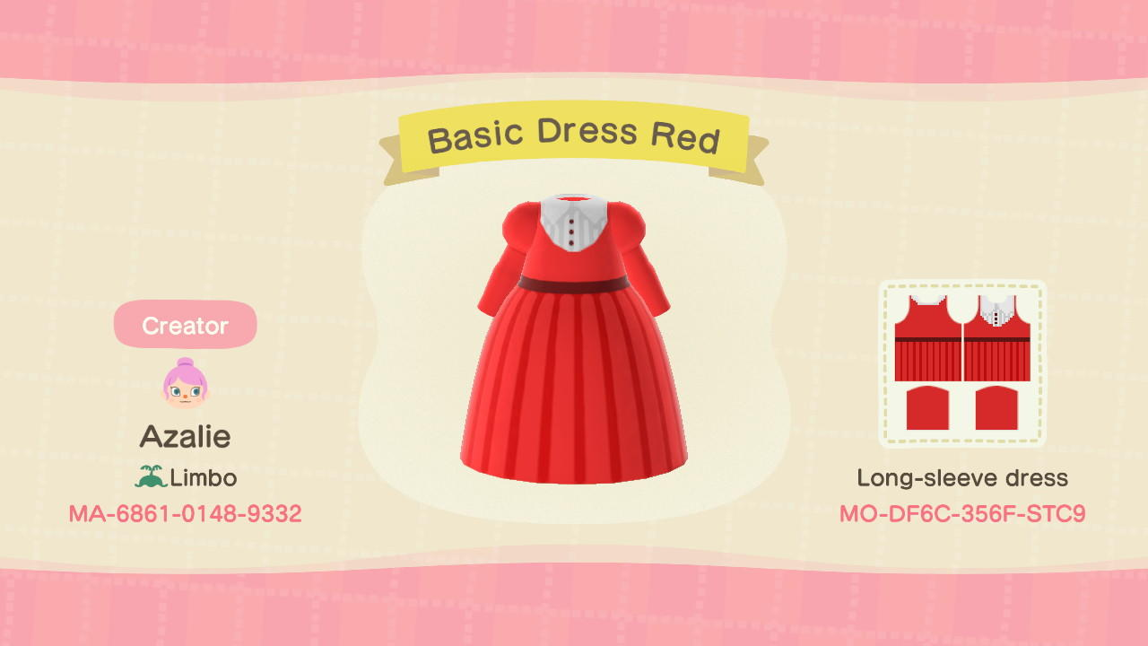 Basic Dress Red - Animal Crossing: New Horizons Custom Design