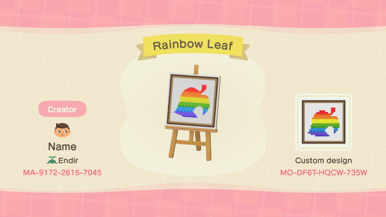 animal crossing new horizons leaf design code