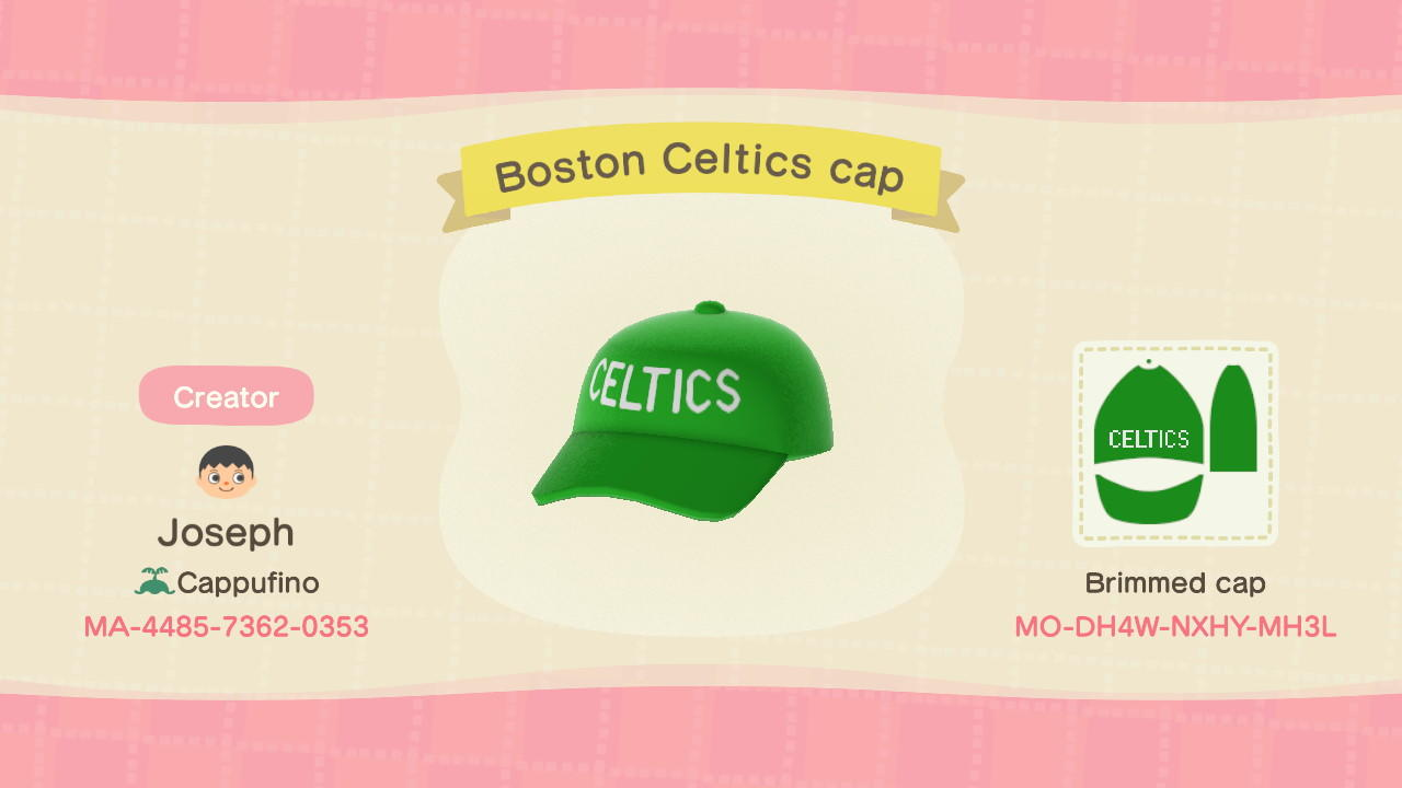 Boston Celtics Cap - Animal Crossing: New Horizons Custom Design