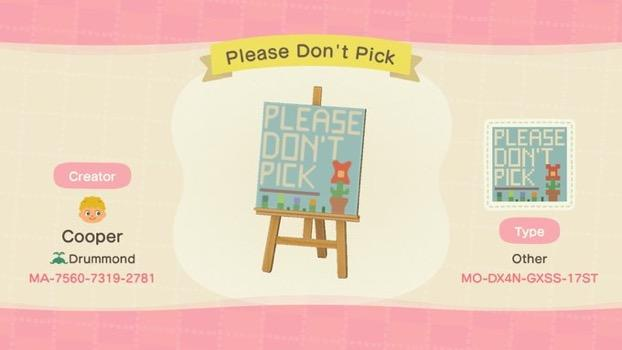 Please Don't Pick - Animal Crossing: New Horizons Custom Design