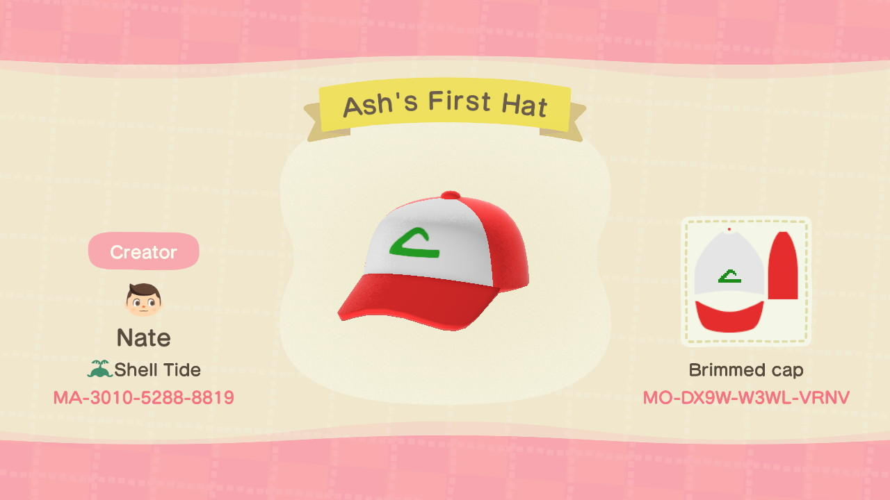 Ash's First Hat - Animal Crossing: New Horizons Custom Design