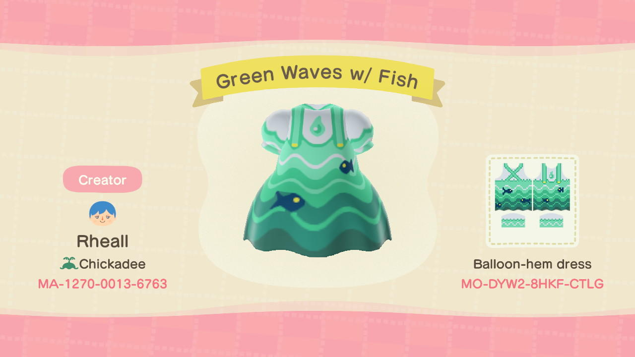 Green Waves w/ Fish - Animal Crossing: New Horizons Custom Design