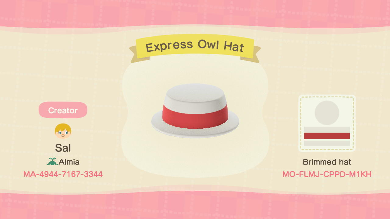 Express Owl Hat - Animal Crossing: New Horizons Custom Design