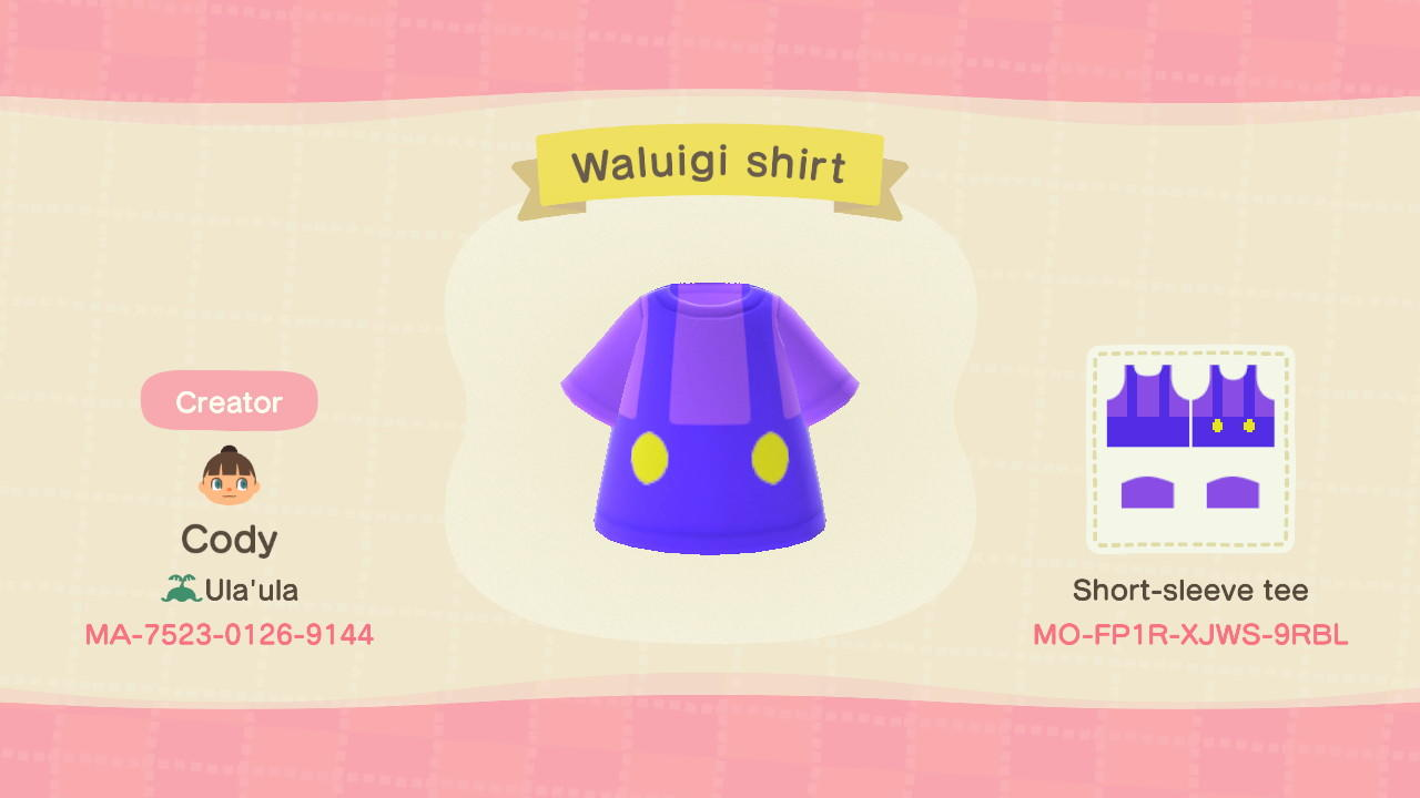 Waluigi shirt - Animal Crossing: New Horizons Custom Design