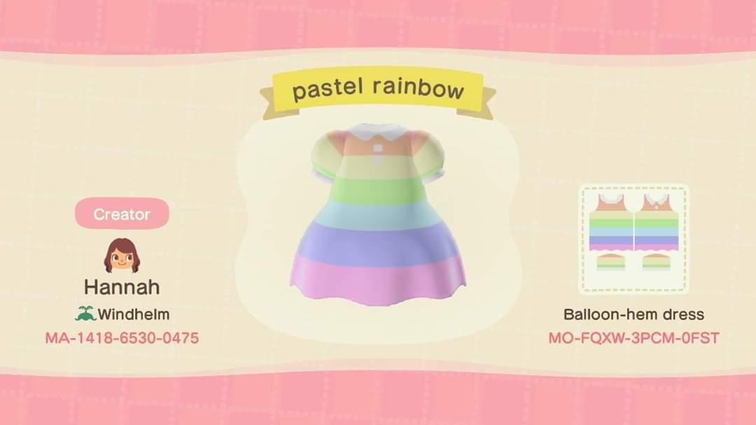 Pastel Rainbow Dress - Animal Crossing: New Horizons Custom Design