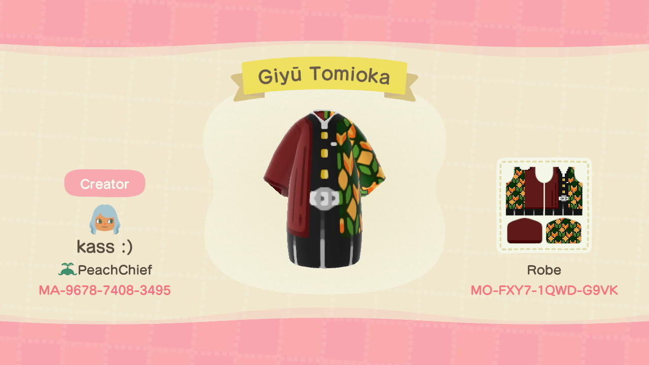 Giyū Tomioka Haori - Animal Crossing: New Horizons Custom Design