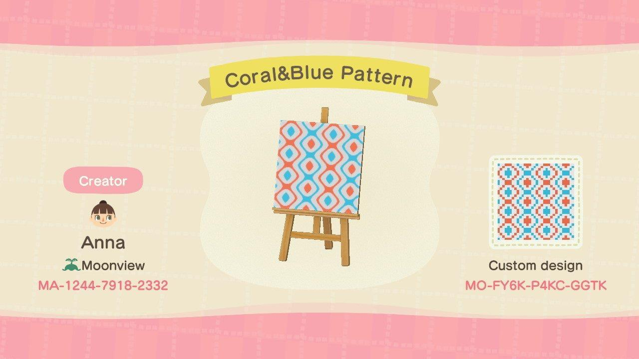 Coral&Blue Pattern - Animal Crossing: New Horizons Custom Design